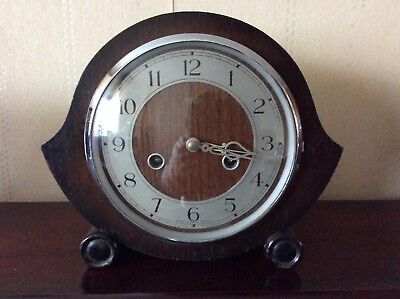 Smiths Enfield Wooden Cased Striking Mantle Clock Without Key-Working