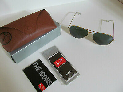 5d9df9148a Mens Ray Ban Aviator RB3026 L2846 Gold Frame Green Lenses Sunglasses Large  62mm
