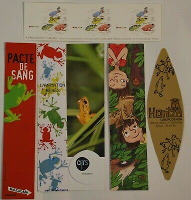 6 marque pages thème grenouille - frog bookmarks