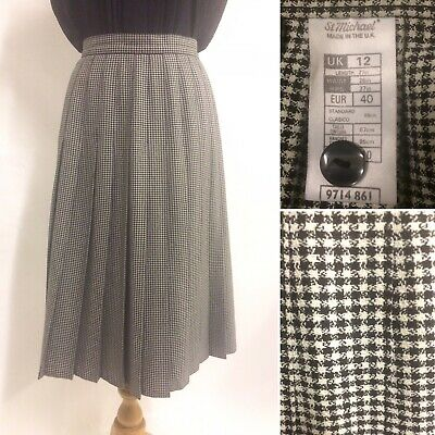 Vintage 80s 90s St Michael M&S Black White Dogtooth Check Pleated Skirt Size 10