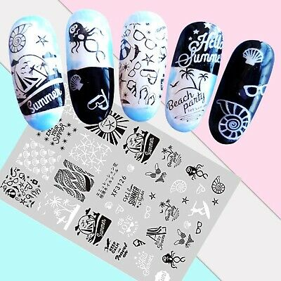 Nail Art Stickers Transfers 3D Self Adhesive Cute Summer Beach Party (XF3126)