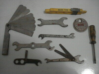 Assortment of Vintage Ignition Wrenches, Gap Gauge, Fuse Puller, Champion CT-481