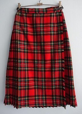 Vintage Gor-Ray UK for Weiss Pleated Red Wool Tartan Kilt / Skirt sz 6 to 8