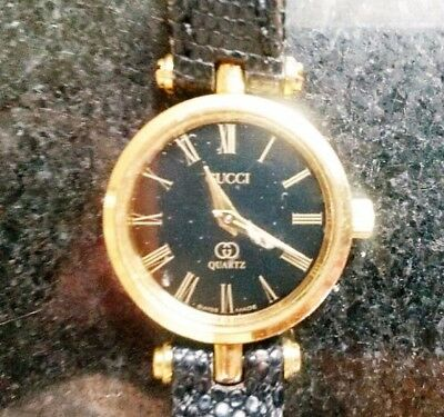 d0f3a6bbd7a Authentic Gucci Italian Vintage Women Watch Gold Crystal Black Leather band