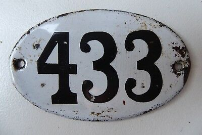"Antique French Enamel House Number "" 433 """