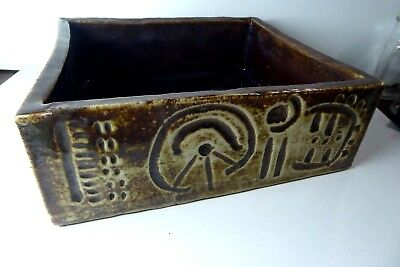Large John Gilbert Incised Slab Pot Vase Planter Australian Pottery Studio
