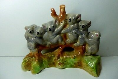 Group Of Koalas In Gum Tree  Branch Australian Pottery Ceramic Studio Vintage