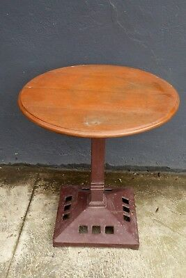 Antique Victorian Cast Iron Table Base Later Oak Timber Top