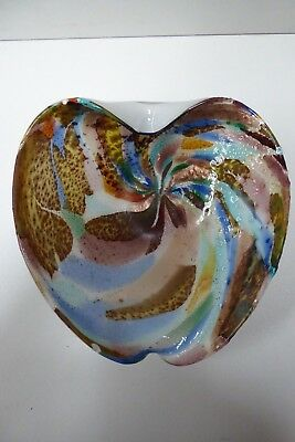 Vintage Murano Art Glass Bowl Multi Coloured End Of Day Style Cased Glass
