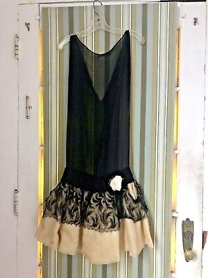 20's Vintage Silk Chiffon lace Drop Waist Flapper Dress used in film XS as is