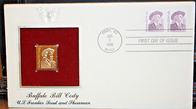 BUFFALO BILL CODY FRONTIER SHOWMAN 22kt Gold Cover Stamp 1988 FIRST DAY OF ISSUE
