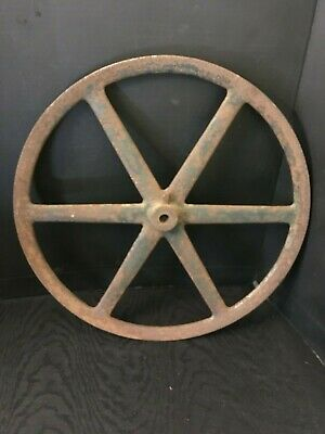 "Vintage Industrial Metal Cast Iron Wheel 20"" Diameter Steampunk"