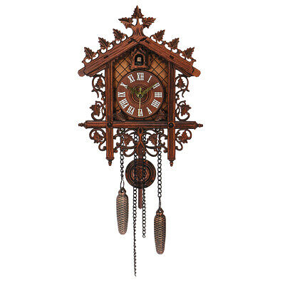 Vintage Handcraft Wood Cuckoo Wall Clock Tree House Swing Wall Clock Art Home