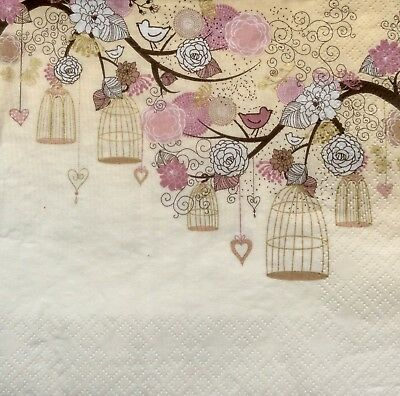 3 Paper Napkins for Decoupage/Parties/Weddings - Birdcages on the trees
