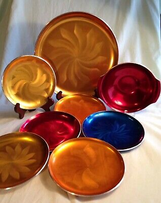 Anodized Aluminum Charger, Plates & Bowl -Mid-Century Modern from Norway - OLDEN