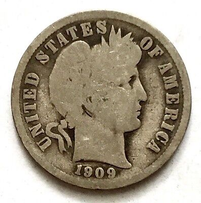 1909 10c Barber Dime SILVER coin