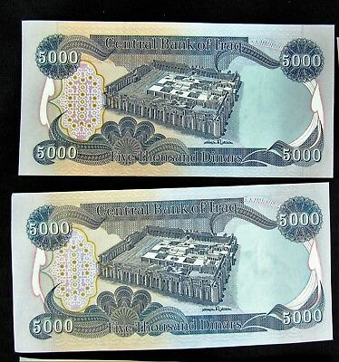 NEW CRISP IRAQI DINAR UNCIRCULATED CURRENCY 2 x 5,000  = 10,000