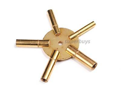 5 Prong Brass Clock Winding Keys Sizes 3 - 11 Crank Tool Universal Grandfather