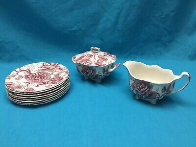 Johnson Brothers England Chippendale Red/ Pink Lot of 10