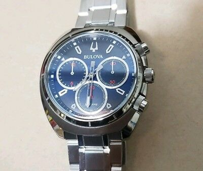 Bulova 96A185 CURV Watch With 43mm Blue Chronograph Face & Silver Breclet.