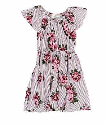 32f64e5a59d2 Lily Bleu NEW Pink Girls Size Large L Floral Print Striped Dress  34 998