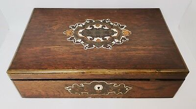 Antique Rosewood & Mother of Pearl Games Box c1860