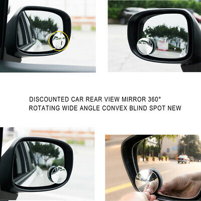 2X Blind Spot Mirror Rimless Glass Wide Angle 360° Convex Rear View Adjustable