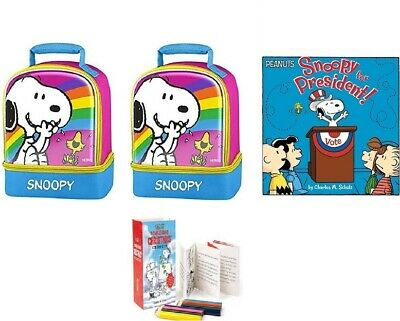(2) New Peanuts Thermos Dual Compartment Lunch Tote Bag + Book + Coloring Kit