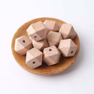 10Pcs Baby Teether Training Toys Natural Wood Hexagon Beads Infants Dental Care