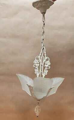 Beautiful Original Art Deco Pendant Light Fitting With Frosted Glass Slip Shades