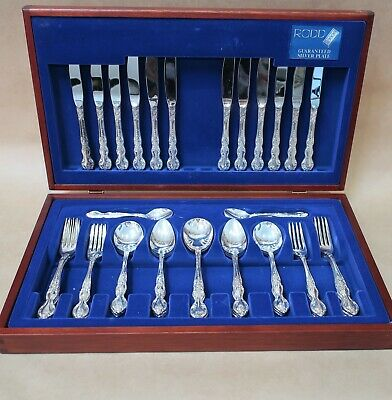 Beautiful Rodd Cutlery Set In Original Wooden Canteen 44 Pieces