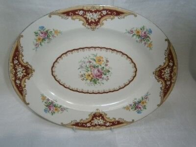"Antique Empire England Meat Serving Plate ""York""  Floral Design"