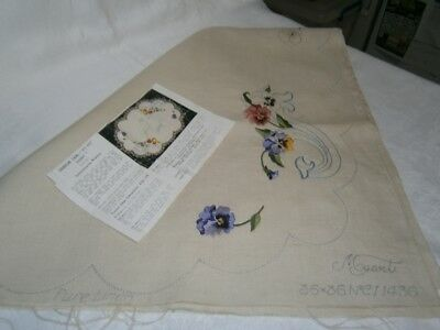 Vintage Partly Completed Pure Linen Supper Tablecloth - Pansy Flower Design