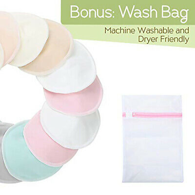 Organic Bamboo Nursing Breast Pads10 Washable Pads+Wash Bag Reusable Nipple Pads
