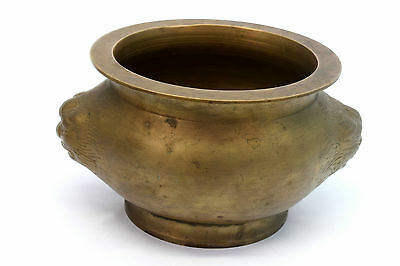 1850s Indian Antique Hand Crafted Engraved Brass Lion Face Pot. G7-76 AU