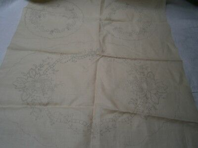 3 Pce Vintage Pure Linen Dressing Table Doyley Set In Floral Design To Embroider