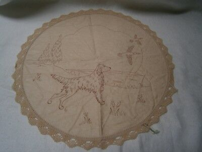 Round Vintage Pure Linen Dressing Table Doyley In Dog & Bird Design To Embroider