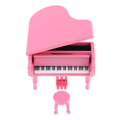 Pink Wooden Piano Music Box with Bench Famous Songs for Lover Collections