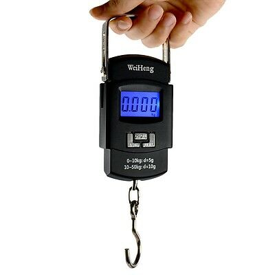 50KG Electronic Weigh Travel 10g Portable LCD Digital Fish Hanging Luggage Scale