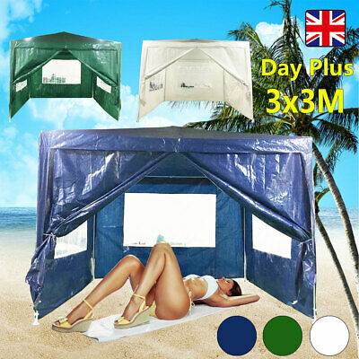 DayPlus 3Mx3M PE Gazebo 120g Waterproof Garden Marquee Canopy Tent for Party BBQ