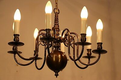 Large 8 arm Dutch antique chandelier polished brass with chain and ceiling cup