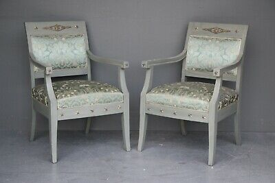 Pair Art Deco antique French Empire armchairs fauteuil chairs painted ormolu