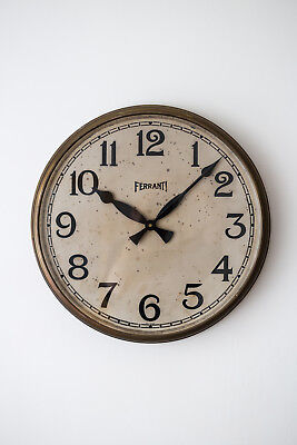 "Vintage Industrial Brass Ferranti 18"" Factory Railway Station Wall Clock"
