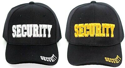 Security Embroidery Black Hat Baseball Cap Adjustable Strap One Size Fits All