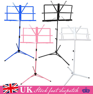 Metal Adjustable Music Sheet Stand Holder Folding Foldable + Carry Case Bag UK