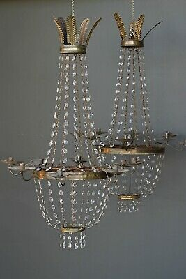 Rare pair antique large ornate chandeliers original crystals bronze lights 1810s