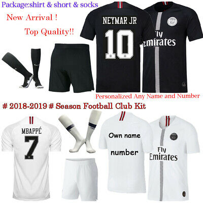 2019 Black Home White Football kit Soccer Team Suit Short Sleeves For Kids Boy