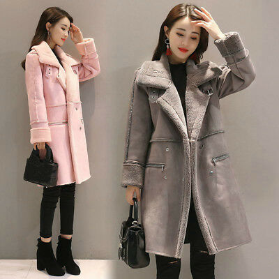 Women's Lady Faux Lambswool Coat Thick Jacket Long Outwear Winter Warm Fashion