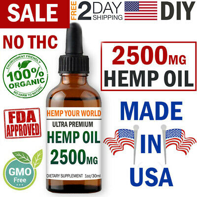 2500 mg Organic Hemp Oil Drops Pain Relief Reduce Stress Joint Support Sleep Aid