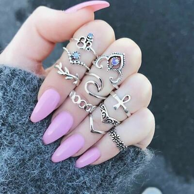 Women 10pcs/Set Antique Crystal Finger Rings Midi Knuckle Ring Set Jewelry